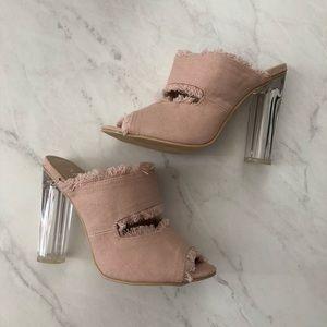 M&L Shoes - Distressed Denim Slip on Heels